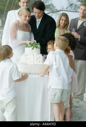 Scene from beach wedding - Stock Photo