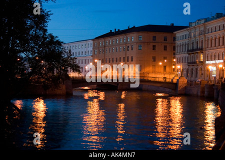 White Night in the streets of St Petersburg, Russia - Stock Photo
