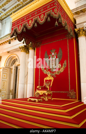 Throne at the St George Hall, The Hermitage Museum, St Petersburg Russia - Stock Photo