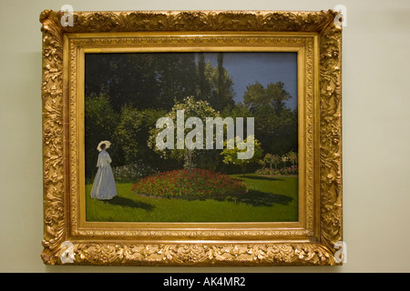 Dame dans le jardin ( Lady in the Garden ) painting, Claude Monet, The Hermitage Museum, St Petersburg, Russia - Stock Photo