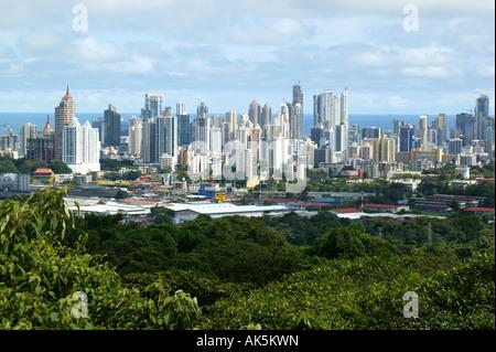 View over Panama City from the hill of Metropolitan park, Panama province, Republic of Panama. November, 2007. - Stock Photo