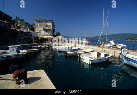 boats in the harbor of Valun - Stock Photo