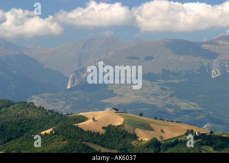 View of the Sibillini Mountains in the Sibillini National Park,Le Marche,near Amandola,Itlay. - Stock Photo