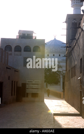 4th April 2003 A man walks towards a mosque in the city of Dubai United Arab Emirates  - Stock Photo