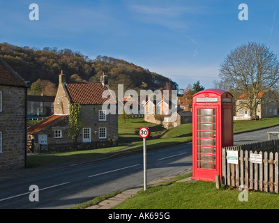 A red public telephone box in the village of Hutton le Hole Rydale North Yorkshire - Stock Photo