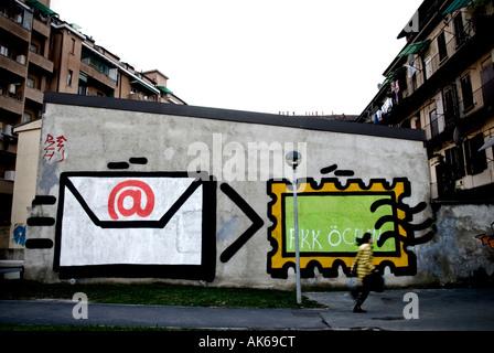 Italy, Milan. 2007 railway station. Street art - Stock Photo