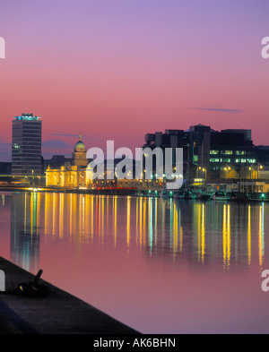 The Custom House and Liberty Hall on the River Liffey in Dublin, Ireland - Stock Photo