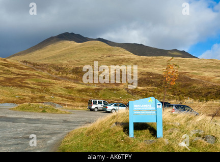 Entrance to the National Trust for Scotland car park at Ben Lawers National Nature Reserve in Tayside Scotland - Stock Photo