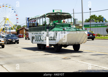 The one and only original Wisconsin Ducks tourist rides around the Dells WI - Stock Photo