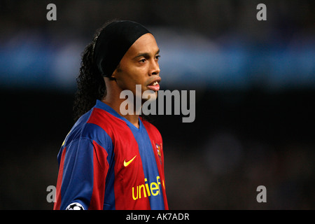 FC Barcelona's Ronaldinho of Brazil during a UEFA Champions League soccer match at the Nou Camp stadium - Stock Photo