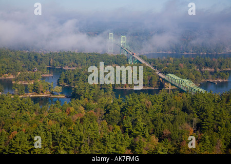 1000 Islands Thousand Islands Bridge between Canada and the USA in the St Lawrence River Ontario Canada - Stock Photo