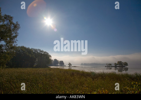 Early morning sun rise at  1000 Islands Thousand Islands in the St Lawrence River Ontario Canada - Stock Photo