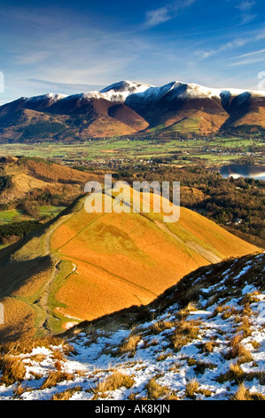 A Panoramic View of the Skiddaw Range, Keswick and Derwent Water from Cat Bells, The Lake District, Cumbria, England, - Stock Photo