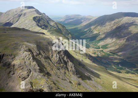 View from the summit of Great Gable, Lake District, England, towards Kirk Fell, Pillar, the Ennerdale valley and - Stock Photo