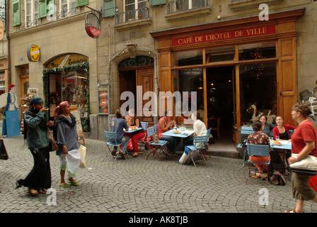 Café de l'Hôtel de Ville. Lausanne. Old town. Place de la Palud. Streetlife. - Stock Photo
