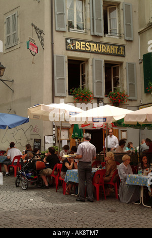 Lausanne. Place de la Palud. Popular centre of the old town of Lausanne. - Stock Photo