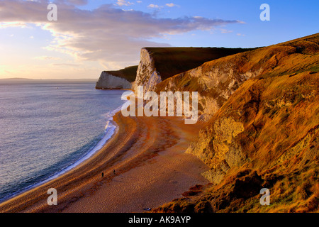 Just before sunset on the Dorset coast looking West from Durdle Door towards Swyre head and Bats Head