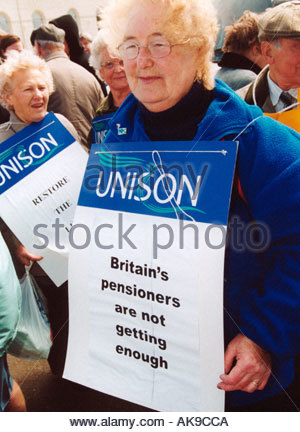 Demo at National Pensioners Convention 10th Pensioners Parliament Blackpool Lancs demanding higher pensions UK May - Stock Photo