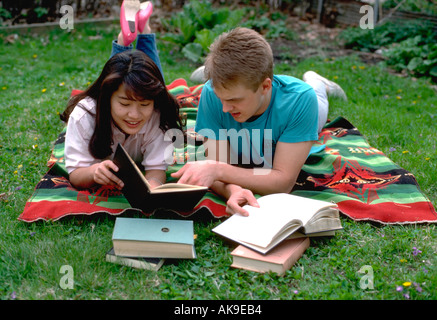 Japanese exchange student studying with host age 18. St Paul Minnesota USA - Stock Photo