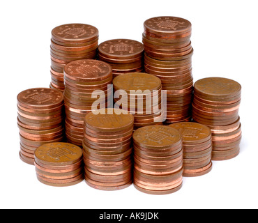Piles of penny coins - Stock Photo