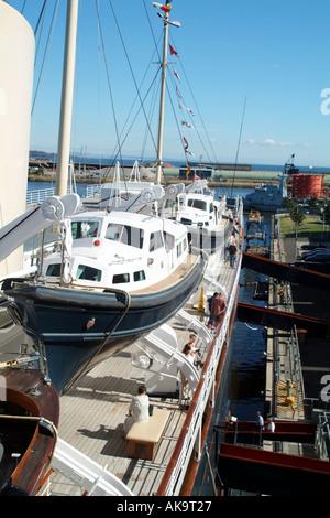 Former Royal Yacht Britannia at Ocean Terminal Leith Docks Scotland UK Europe launch - Stock Photo