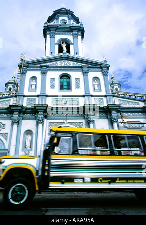 Bus and San Francisco church.Pasto.Colombia - Stock Photo