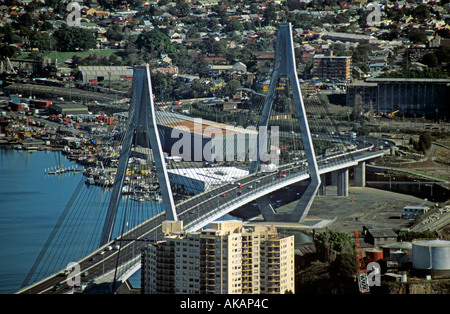 Anzac Bridge spanning Johnstons Bay Sydney Opened in December 1995 - Stock Photo