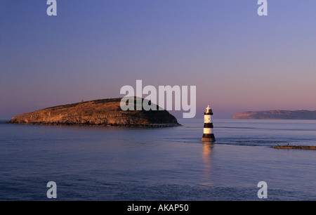 Penmon lighthouse Black Point Anglesey Wales UK - Stock Photo