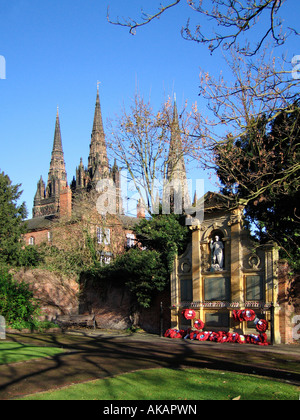 Lichfield Cathedral seen from the Garden of Remembrance Lichfield Staffordshire England - Stock Photo