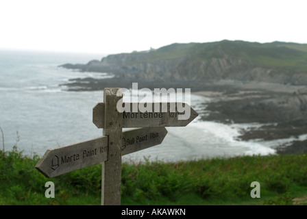 South West Coast Path signage between Woolacombe and Illfracombe on the North Devon coast near Morthoe - Stock Photo