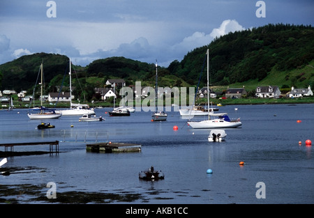 yachts on moorings tayvallich harbour knapdale argyll scotland europe - Stock Photo