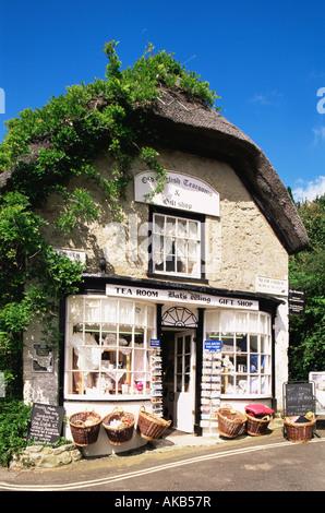 England, Hampshire, Isle of Wight, Godshill Village, Tea Room and Souvenir Shop Entrance - Stock Photo