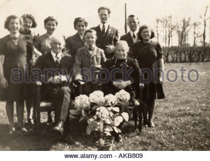 Vintage family group photo golden marriage Holland 1930s - Stock Photo