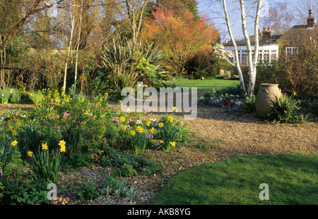 denmans sussex design john brookes gravel garden in spring with narcissus hellebores chionodoxa with view through