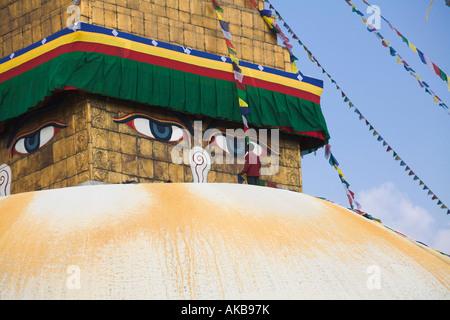 Nepal, Kathmandu, Bodhnath Buddhist stupa, Lhosar Tibetan and Sherpa New Year festival - Stock Photo