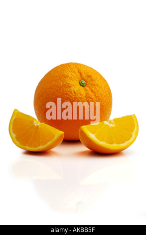 Orange and slices on white - Stock Photo