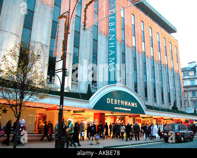 Debenham Superstore Marble Arch London Night shot exterior general view December 02 - Stock Photo