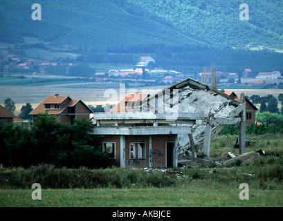 A view at a destroyed village in Kosovo - Stock Photo