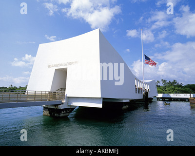 A view of the USS Arizona Memorial at Pearl Harbor in Honolulu - Stock Photo