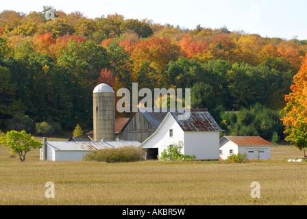 Michigan farm scene on the Leelanau peninsula near Traverse City Michigan - Stock Photo