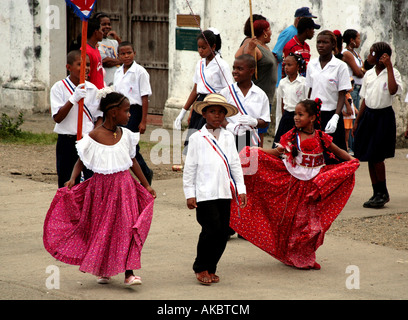Students parading at national independence festivities at Portobelo town of Colon Panama - Stock Photo