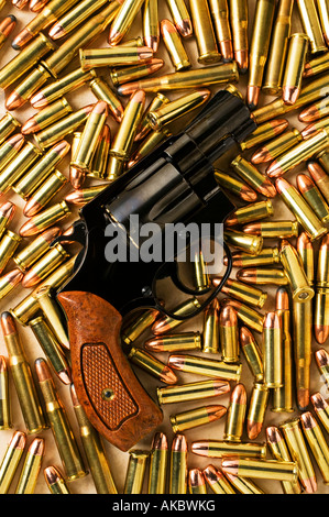 Handgun 38 special with assorted bullets - Stock Photo