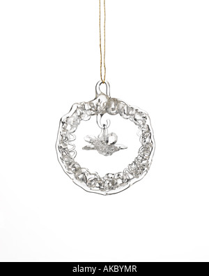 crystal wreath Christmas ornament hanging on hook - Stock Photo
