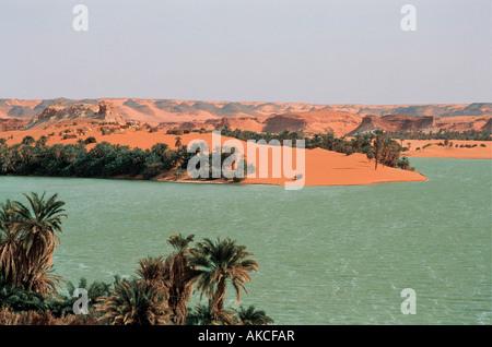 Lakes near Ounianga Kebir north eastern Chad Africa - Stock Photo