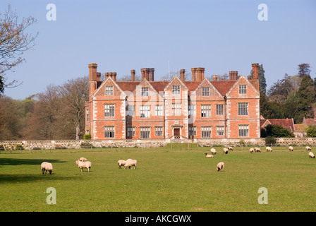 Breamore House in the spring Hampshire UK from the public footpath - Stock Photo