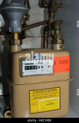 Domestic Gas Meter UK - Stock Photo