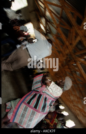 Zulu people dancing in KwaZulu Natal South Africa - Stock Photo
