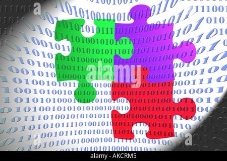 A stock photograph of a group of jigsaw pieces illustrated in a computer graphical way representing business teamwork - Stock Photo
