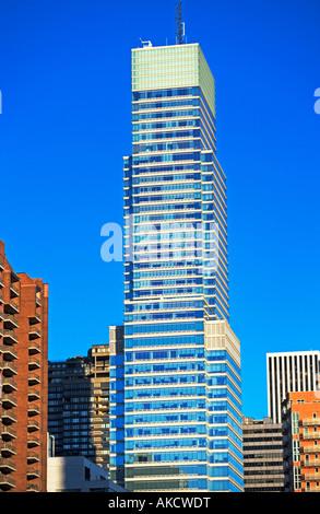 Bloomberg Building,media, New York, BUILDING, CITY, EXTERIOR, FAÇADE, IN A ROW, SKYSCRAPER, WINDOWS, WINDOW, URBAN - Stock Photo