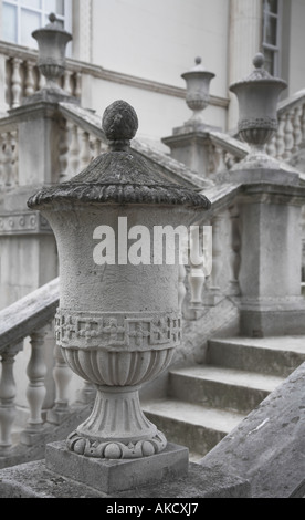 Urns decorating pillars of the ornamental steps up to the main entrance of Chiswick House London - Stock Photo